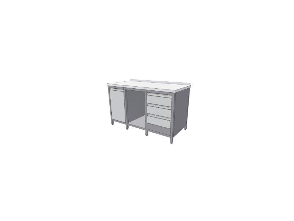 Stůl nerez KSPZVK 1500x700x850v - pracovní stůl s policí, blokem tří zásuvek a výkl. košem