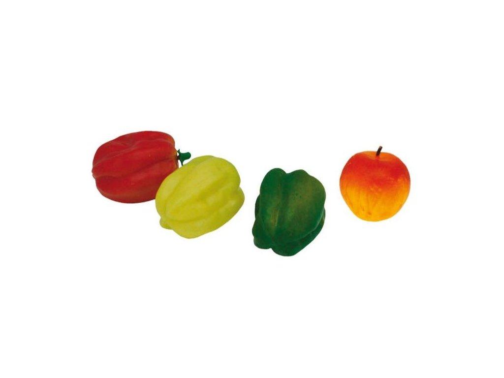 Řeznická potravinářská atrapa papriky a jablko