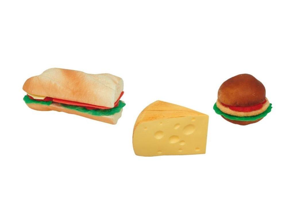 Řeznická potravinářská atrapa bageta, hamburger a sýr