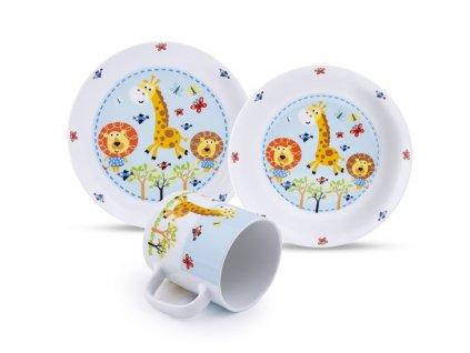 Dětská porcelánová talířová třídílná souprava s potiskem obrázkem Safari Žirafka