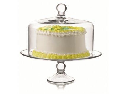 Podstavec pod dort s poklopem skleněný
