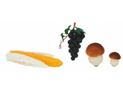 Řeznická potravinářská atrapa kukuřice, houby a hroznové víno