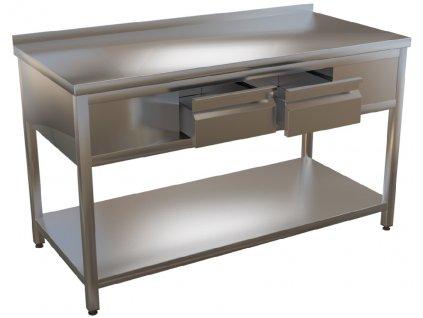 mmilenium.cz velkoobchodgastro.cz Nerezový pracovní stůl se dvěma šuplíky KSPZH 2 hloubka 700mm