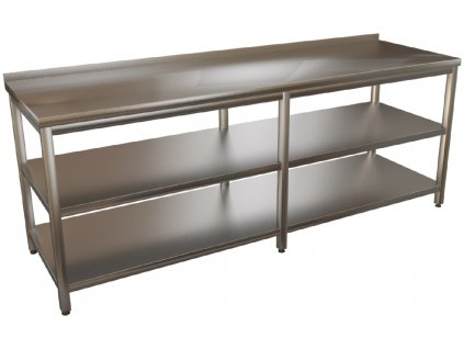 mmilenium.cz velkoobchodgastro.cz Stůl nerez s policemi dlouhý 6 nohou KSPPD hloubka 800mm