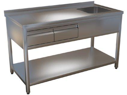 mmilenium.cz velkoobchodgastro.cz Mycí stůl s lisovaným dřezem a zásuvkama KSVOZP 2 hloubka 700mm