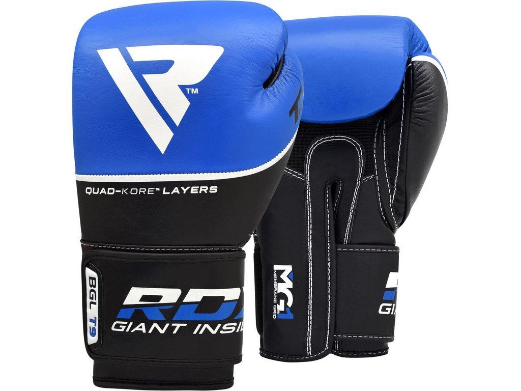 Boxerské rukavice RDX T9 Ace Kožené –modré