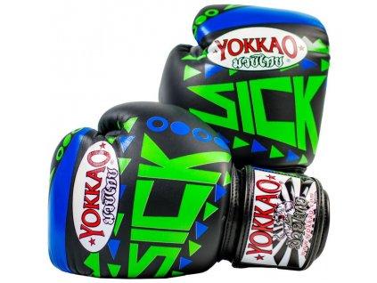 Muay Thai rukavice YOKKAO Sick - modrá/zelená