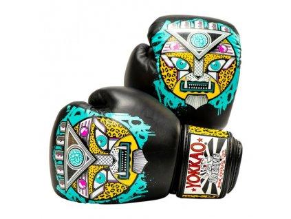 Muay Thai rukavice YOKKAO APEX - motiv leopard