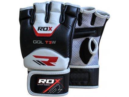 Kožené rukavice MMA RDX T3 – velikost L, bílé