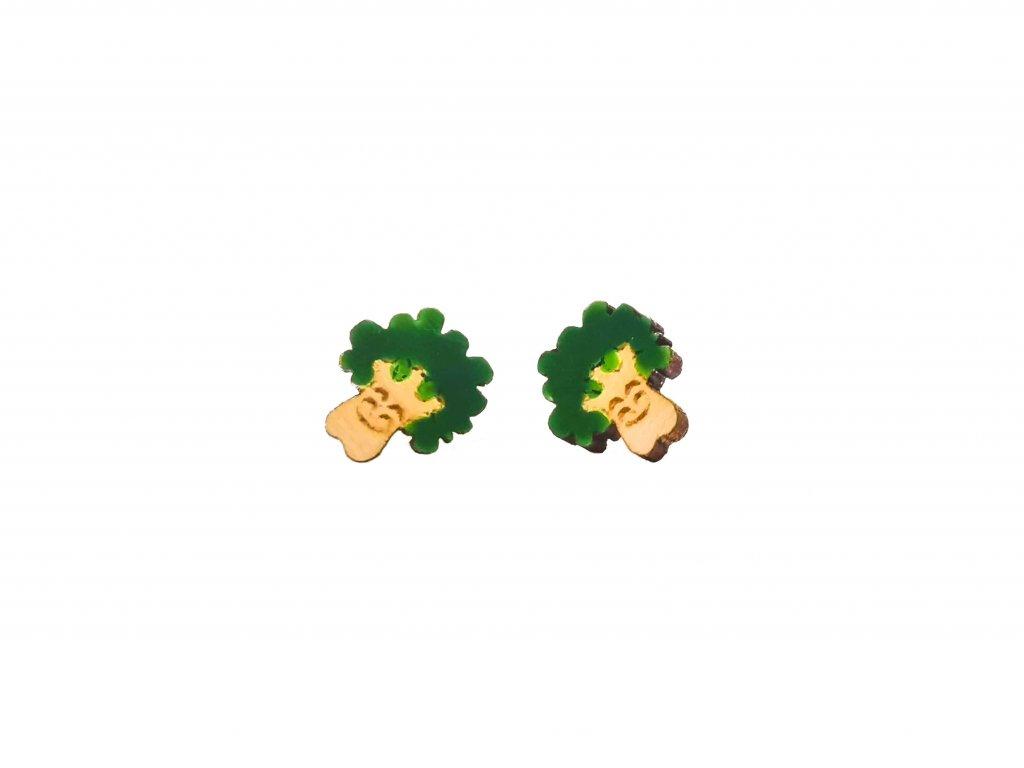 Drevene nausnice brokolice