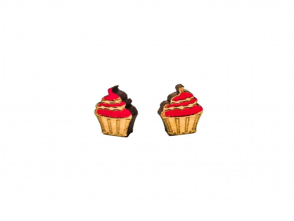 Drevene nausnice muffin