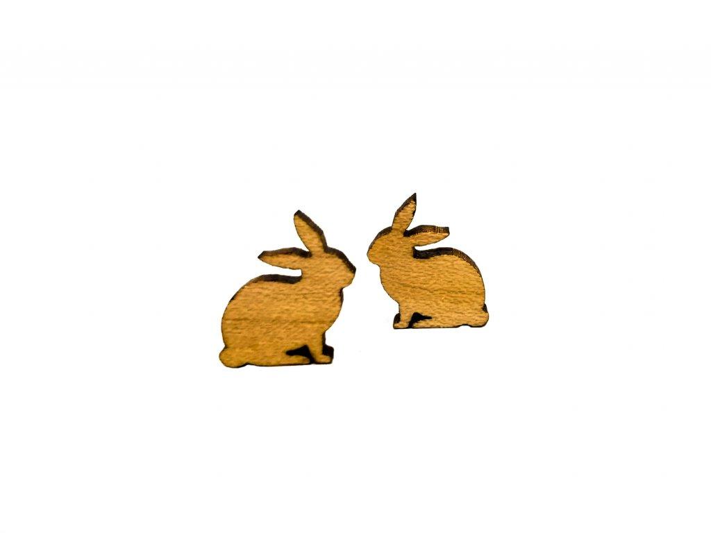 Drevene nausnice zajko