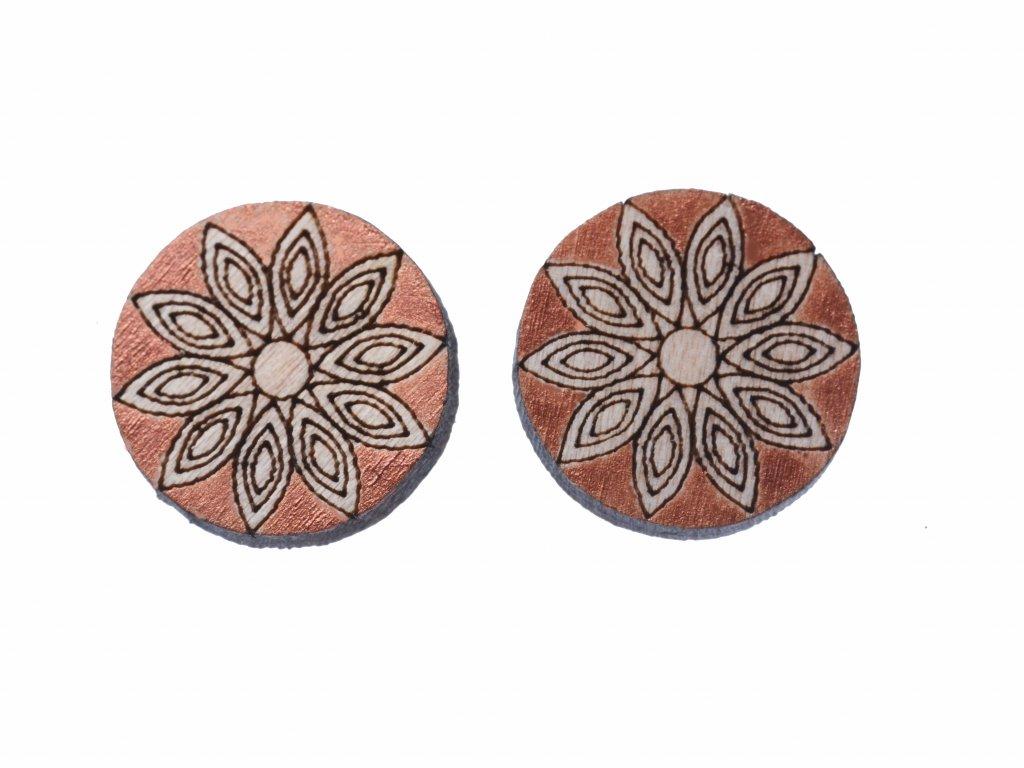 Drevene nausnice Mandala