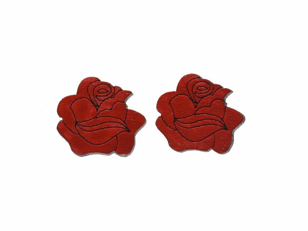 Drevene nausnice ruža