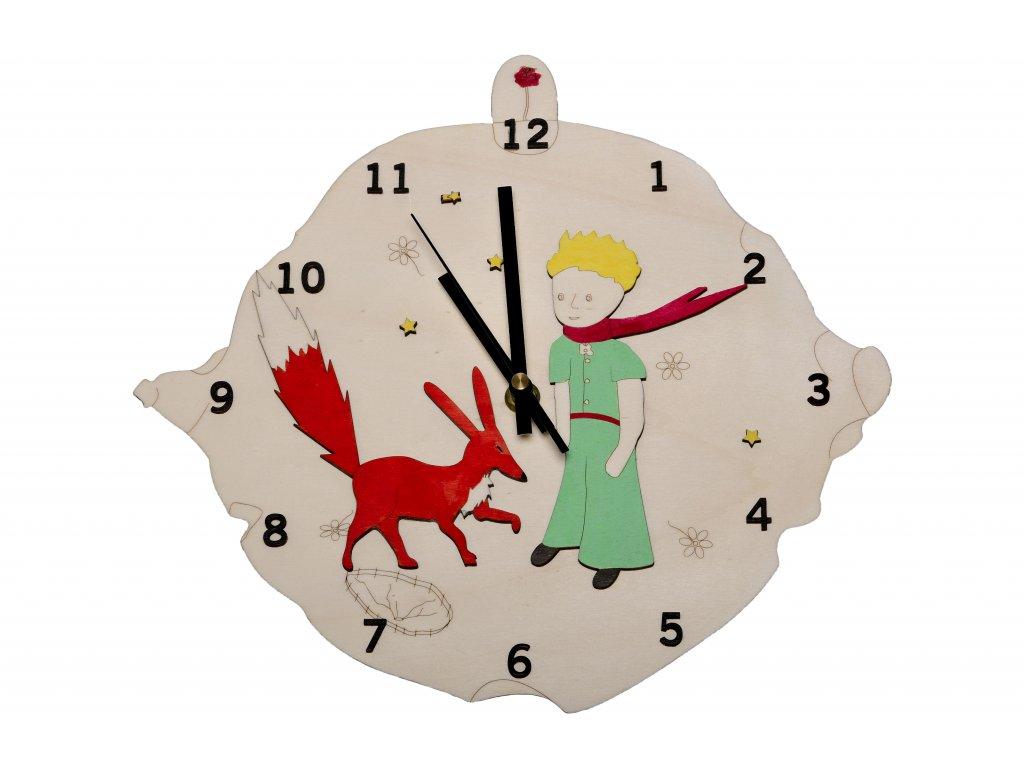 Drevené hodiny malý princ líška, biele pozadie