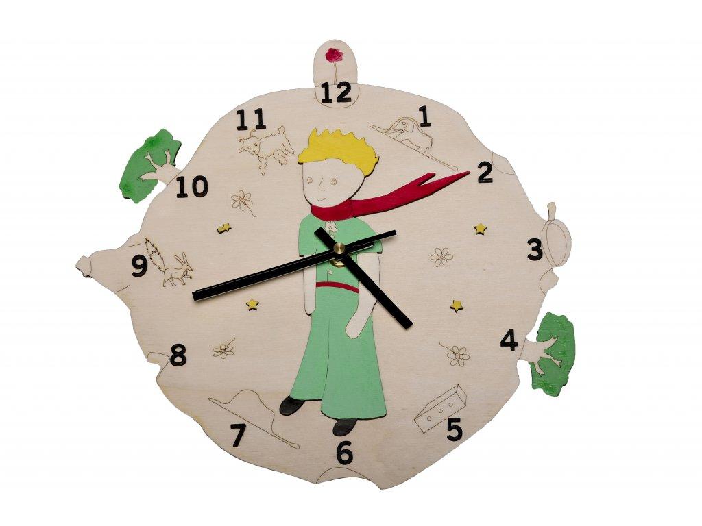 drevené hodiny malý princ príbeh, biele pozadie