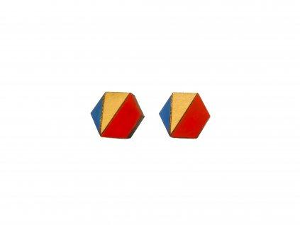 Drevene nausnice farebny hexagon