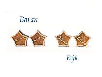 drevene nausnice znamenia zverokruhu baran byk – kópia