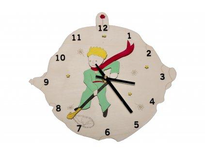 Drevene hodiny maly princ, sopka biele pozadie