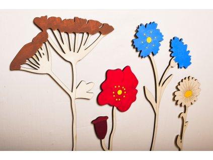 drevene kvety polny set diegonalne