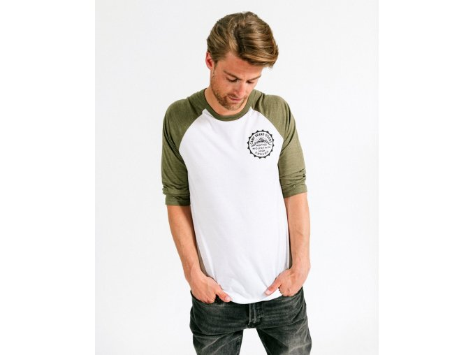 MOUNTAIN HIGH BASEBALL TEE OLIVE + WHITE 2