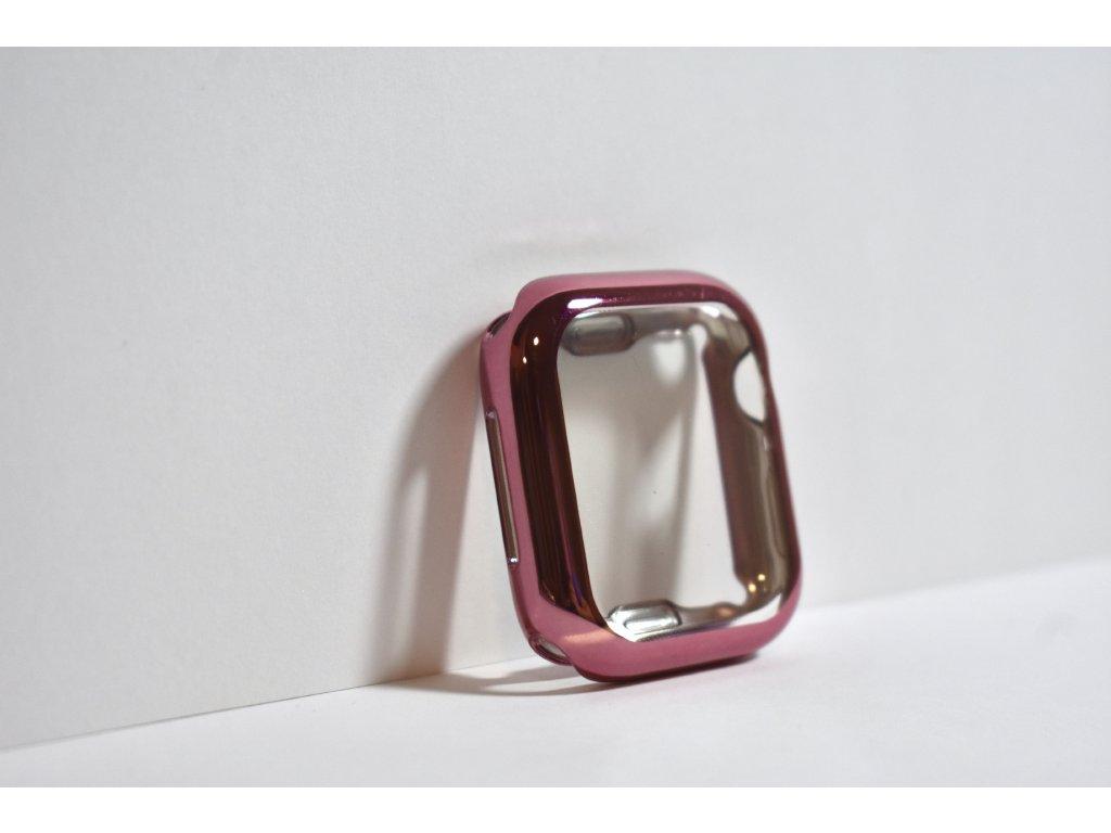 Růžové lesklé pouzdro pro Apple Watch 40mm a 44mm