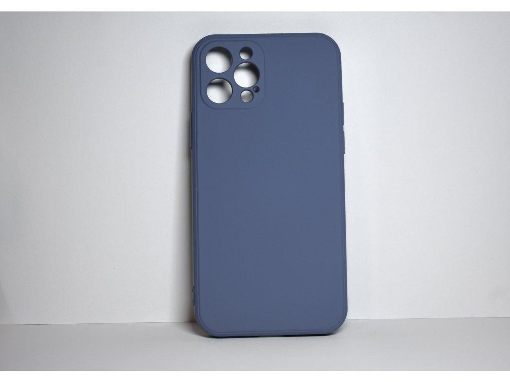 Modrý silikonový obal pro iPhone 12 Pro s ochranou čoček