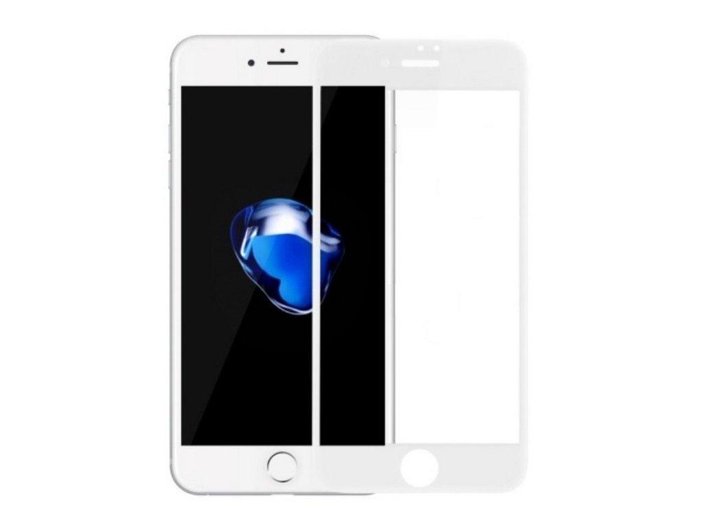 Bílé tvrzené sklo pro iPhone SE 2020, iPhone 8 a iPhone 7 s vysokou tvrdostí a pokrytím celého displeje. Skvěle sedí, ochrání proti poškrábání a  prasknutí dipsleje.