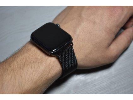 Ocelový milánský tah černý pro Apple Watch