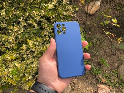 Tmavě modrý silikonový obal na iPhone 12 Pro s ochranou čoček a výstelkou