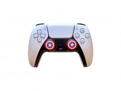 Kapitán Amerika návleky na páčky k PS5/PS4/PS3 (thumb grip caps) 2 ks