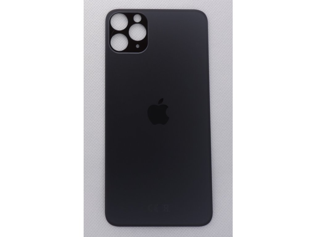 iPhone 11 Pro Max - náhradní zadní sklo Big Hole Space Grey