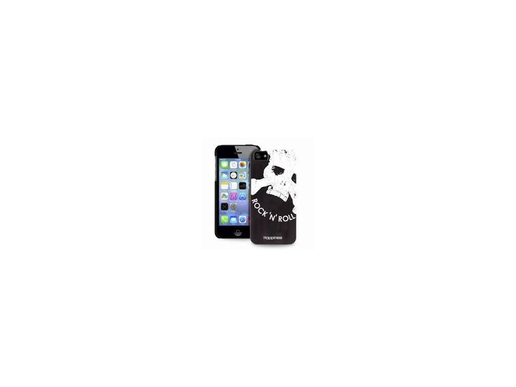 Puro zadní kryt HAPPINESS pro iPhone 5/5S - ROCKN ROLL, bílá s černým textem a lebkou