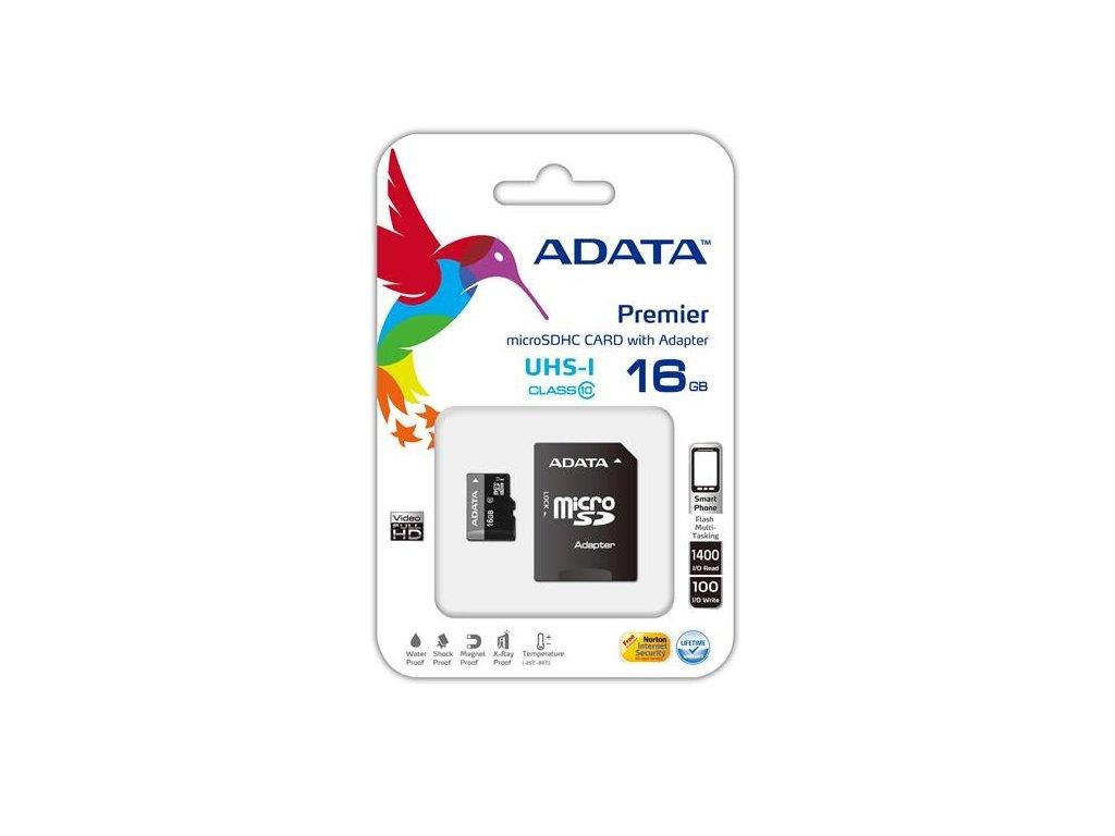 ADATA MicroSDHC karta 16GB UHS-I Class 10+SD adaptér