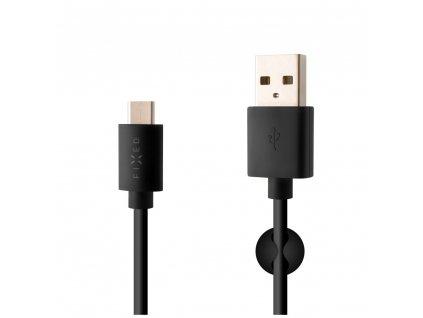 Datový a nabíjecí kabel FIXED s konektory USB/USB-C, USB 2.0, 1 metr, 20W, černý