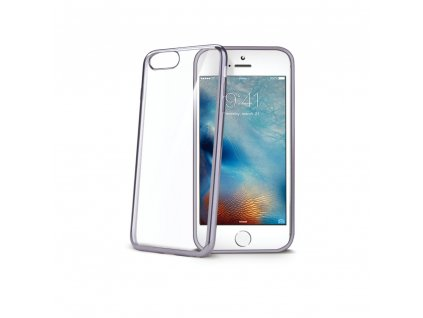 TPU pouzdro CELLY Laser - lemování s kovovým efektem pro iPhone 7, stríbrné