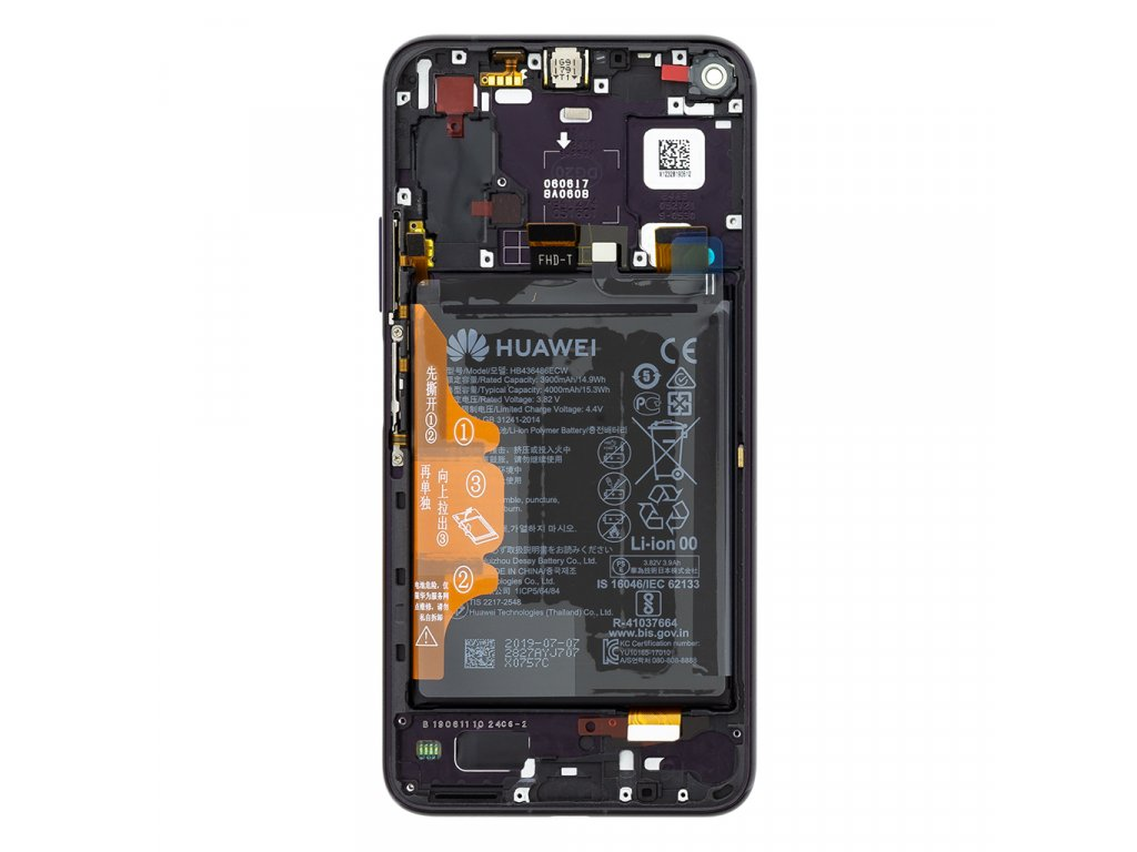 Honor 20 Pro LCD Display + Dotyková Deska + Přední Kryt Black YAL-AL10 (Service Pack)