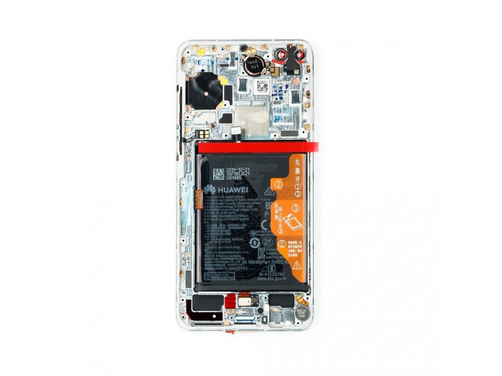 Huawei P40 LCD Display + Dotyková Deska + Přední Kryt Ice White (Service Pack)