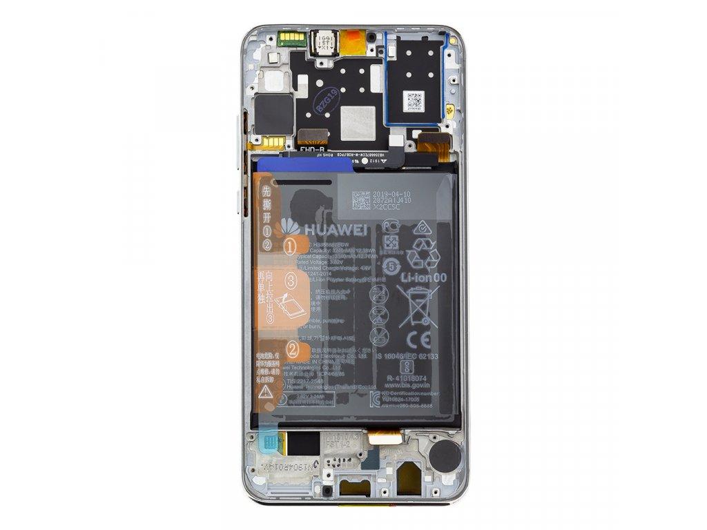 Huawei P30 Lite LCD Display + Dotyková Deska + Přední Kryt White (pro 48MP foto) (Service Pack)