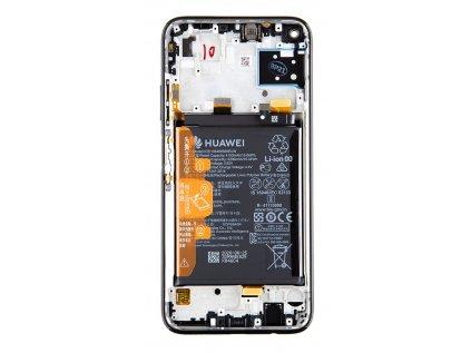 Huawei P40 Lite LCD Display + Dotyková Deska + Přední Kryt Midnight Black (Service Pack)