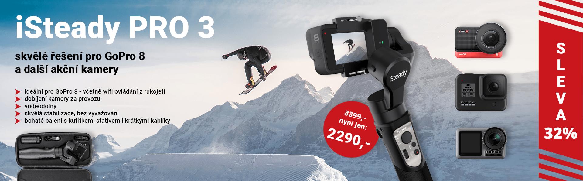 Hohem iSteady PRO 3 - skvělý voděodolný stabilizátor akčních kamer GoPro 5,6,7,8 a Osmo Action