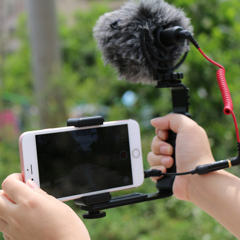 Handle-Video-Braket-with-RODE-Video-Micro-Recording-Microphone-LED-Video-Light-Kit-for-iPhone-5