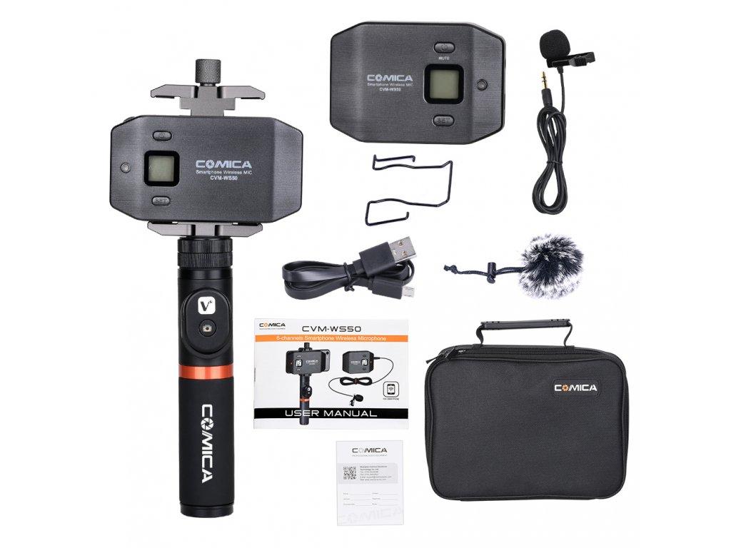 Bezdrátový klopový mikrofon pro mobil Set Comica CVM WS50A 4