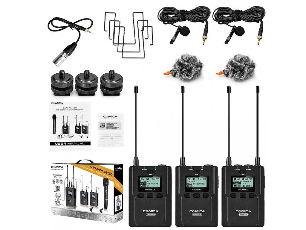 Duální bezdrátový klopový UHF mikrofon Comica CVM WM200A 4