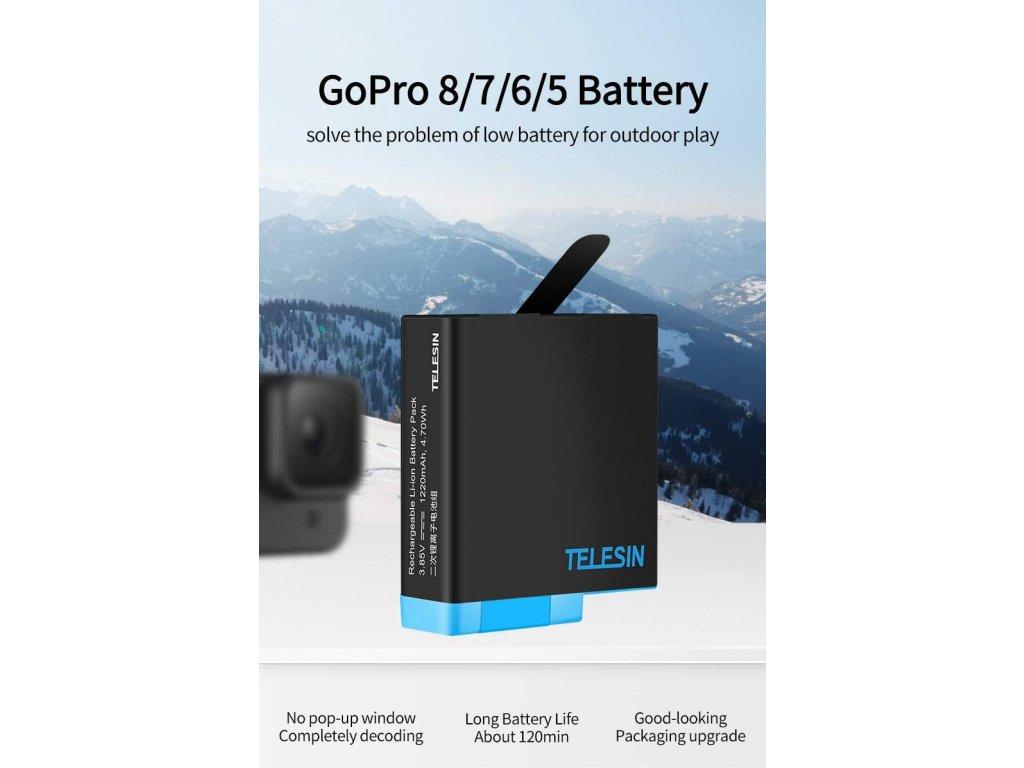 Sada náhradních baterií s nabíječkou Smatree pro GoPro 5, 6, 7 a Hero 7