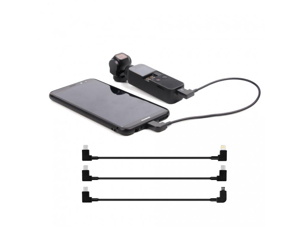 Propojovací kabely pro DJI OSMO POCKET 30cm Micro, USB C, Lightning 0