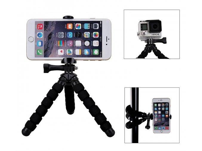 Malý ohebný tripod, stojánek, stativ pro mobil nebo akční kameru 1