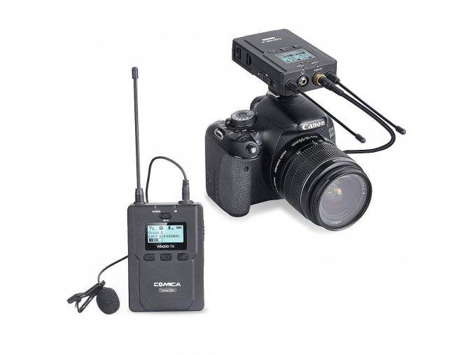 Bezdrátový klopový UHF mikrofon Comica CVM-WM200C