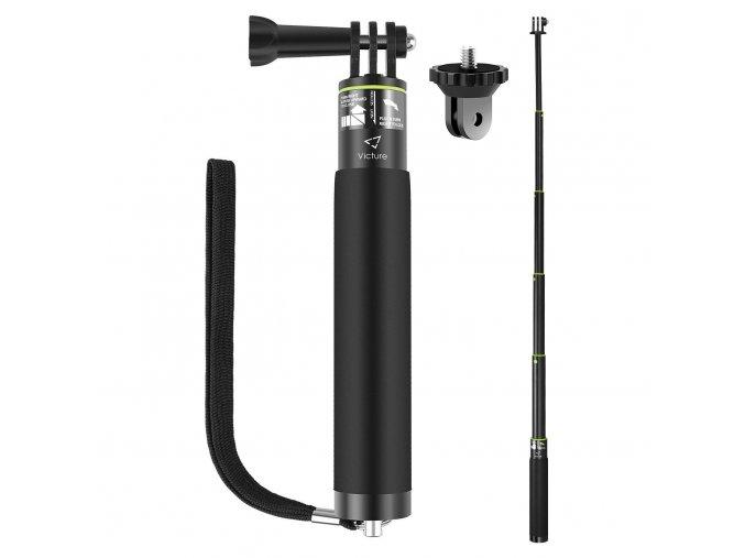 Kvalitní voděodolná hliníková selfie tyč pro gopro telefon a jiné PREMIUM 1