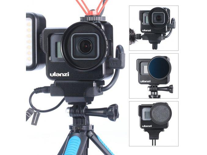 Kovová klec na GoPro 5,6,7, audio adaptér, mikrofon, i filtry - ULANZI V3